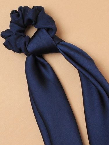 Satin fabric long tail hair tie scrunchie - pack of 3 blue
