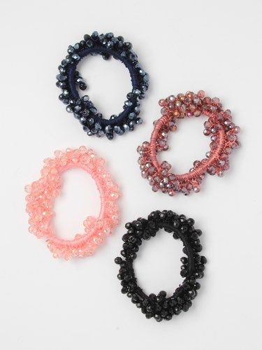 Hand threaded faceted glass bead scrunchie - pack of 4