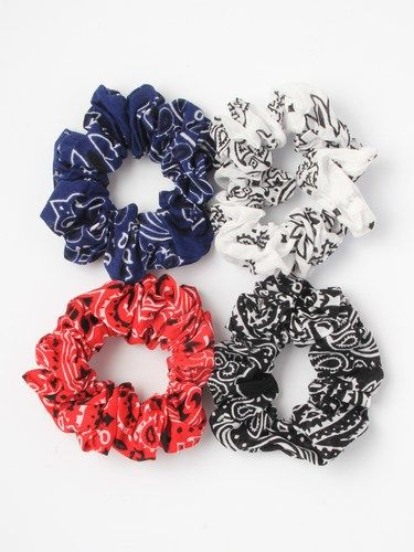 Paisley print 100% cotton fabric scrunchie - pack of 4