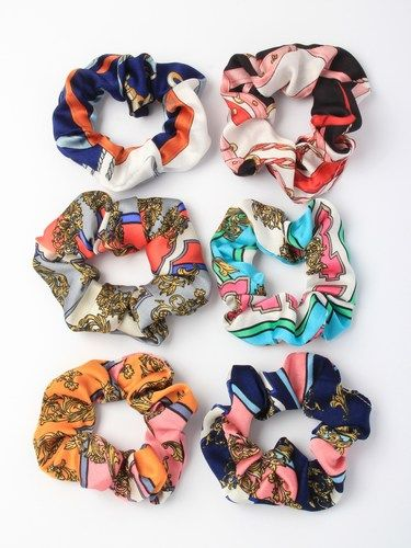 Bold abstract printed satin fabric scrunchie - pack of 6