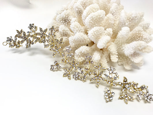 Gold Rhinestone Flower Leaf Vine  Bun Wrap Headpiece