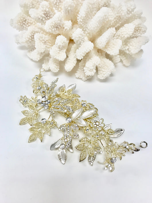 Stone Filigree Leaf Flower Hair Comb