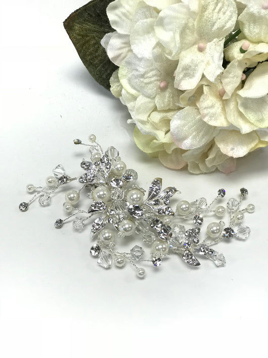 Clear Crystal , Rhinestone And Pearl Hair Clip