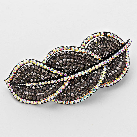 Pave Triple Leaf Hair Barrette