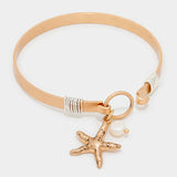 Metal Starfish and Pearl Charm bracelet