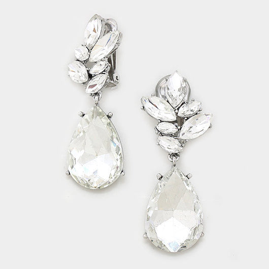 Glass Crystal Petal Teardrop Clip On Earrings