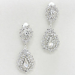 Crystal Pave Jagged Teardrop Clip-On Earrings