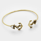 Crystal Detail Anchor Cuff Bracelet