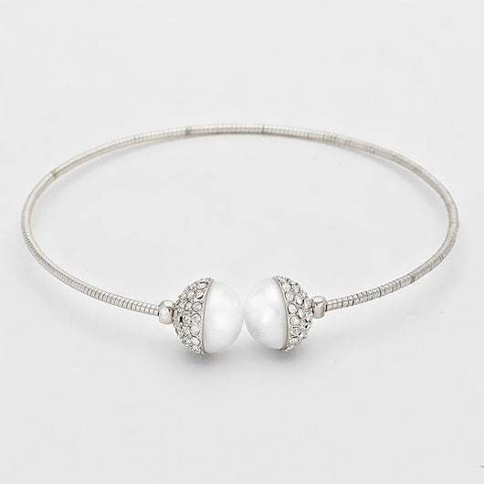 Pearl & Crystal Ball Trimmed Cuff Bracelet