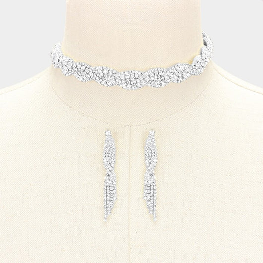 Twisted Rhinestone Choker Set