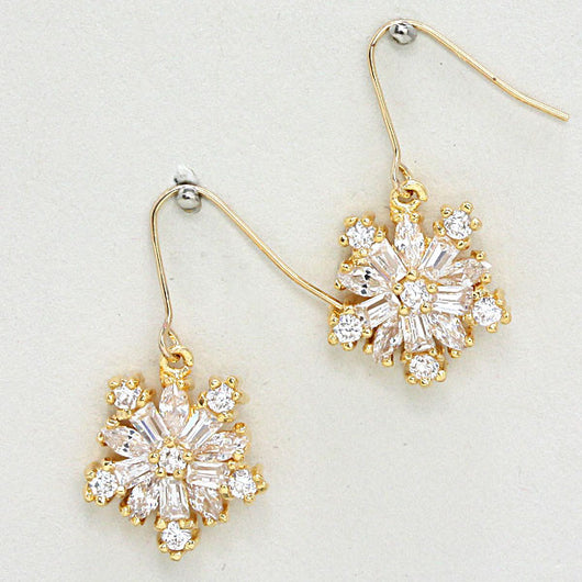 Cubic Zirconia Star Flower Earrings