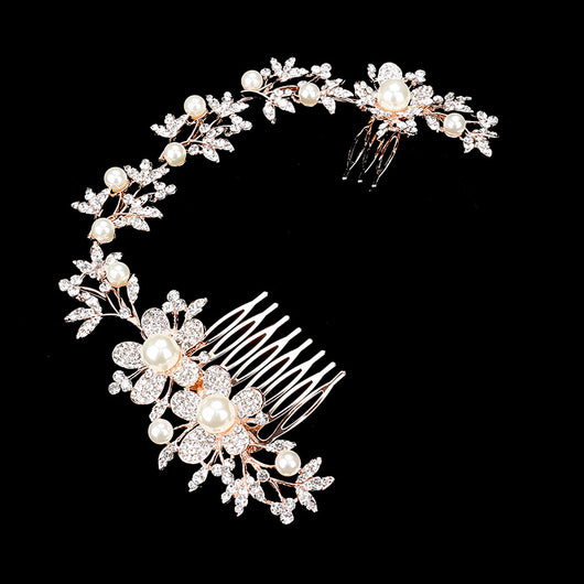 Pearl Accented Rhinestone Pave Flower Hair Comb