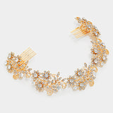 Crystal Rhinestone Flower Vine Hair Wrap Comb