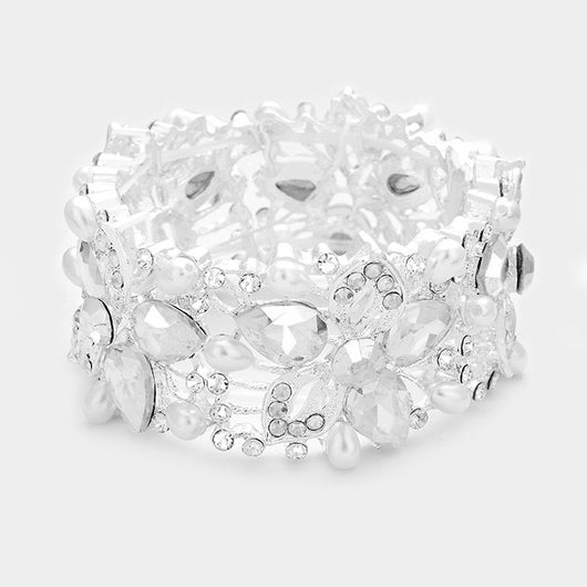 Glass Crystal & earl flower stretch bracelet