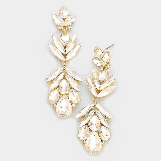 Glass Crystal Petal Evening Earrings