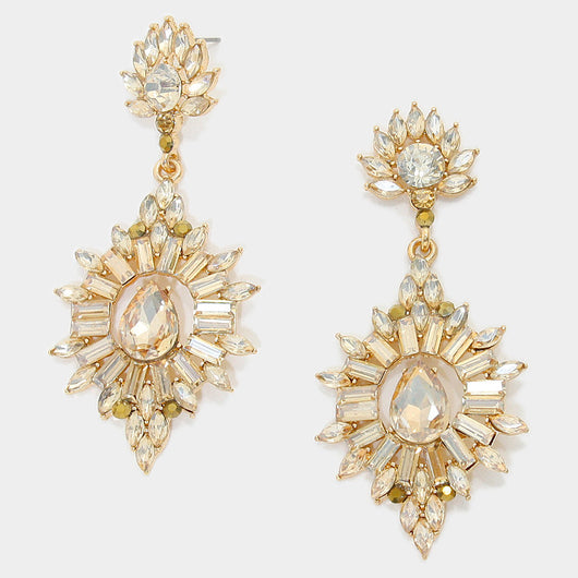 Crystal Rhinestone Flame Evening Earrings
