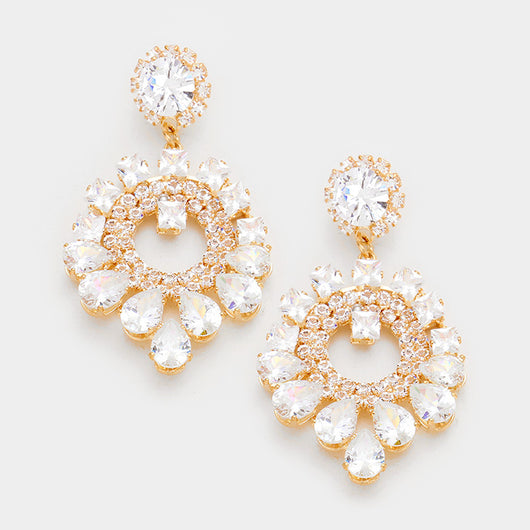 Cubic Zirconia Chandelier Dangle Evening Earrings