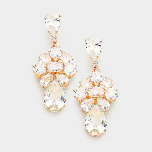 Rose Gold Floral CZ Earrings