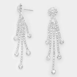 Crystal Rhinestone Rosette Fringe Evening Earrings