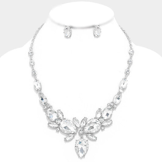 Floral Crystal Rhinestone Statement Evening Necklace and Earring Set
