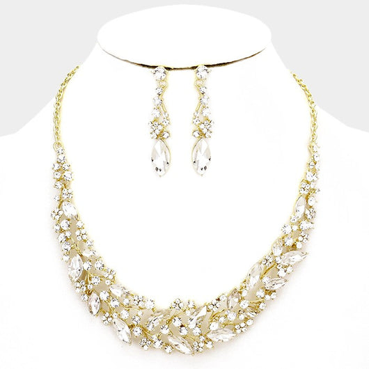 Glass Crystal Marquise Vine Necklace