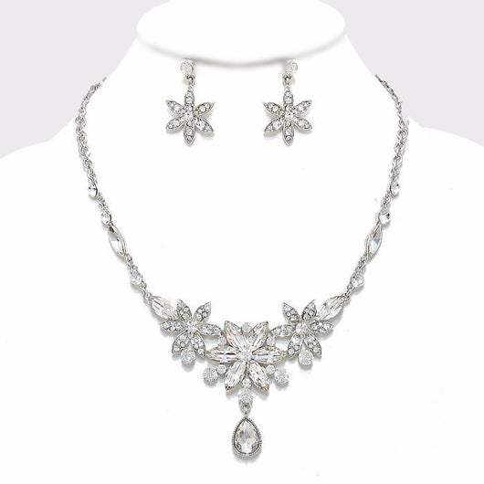 Triple Crystal Rhinestone Flower Statement Evening Necklace
