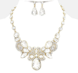 Crystal Rhinestone Teardrop Evening Necklace