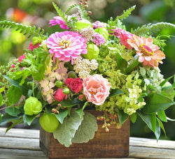 Wooden Box Garden Floral Arrangement