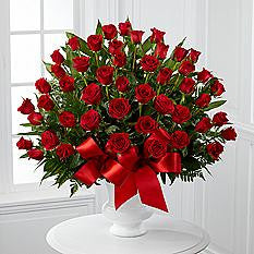 Red Rose Funeral Basket