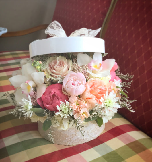 Lace Hat Box Arrangement