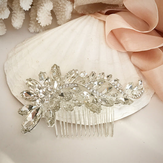 Crystal Petal Cluster Hair Comb Stick