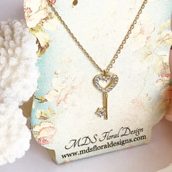 Crystal Heart Key Pendant Necklace
