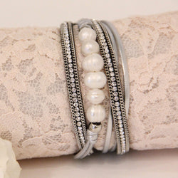 Pearl and Rhinestone Wrap Bracelet