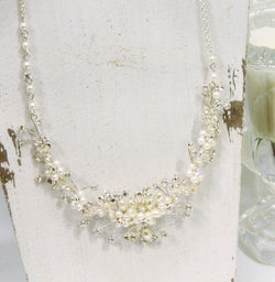Pearl and Rhinestone Flexi-wire Necklace