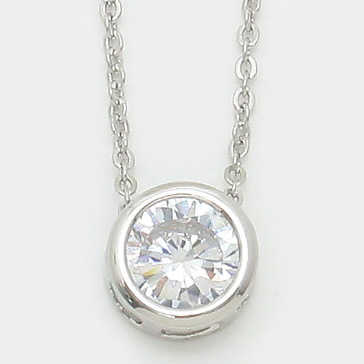 Round Crystal Cubic Zirconia Pendant Necklace