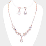 Crystal Teardrop Necklace and Earring Set