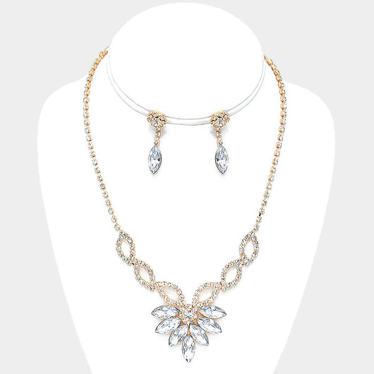 Marquise Crystal Rhinestone Art Deco Necklace