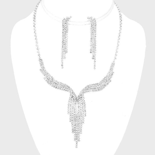 Crystal Rhinestone Fringe Necklace