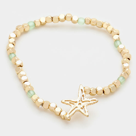 Metal Starfish Beaded Stretch Bracelet