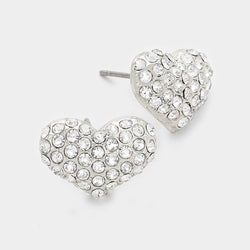 Crystal Pave Heart Stud Earrings