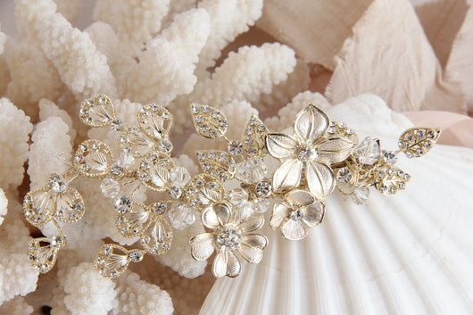 Light Gold and Crystal Hair Clip