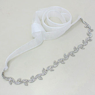 Crystal Leaf Stalk Organza Fabric Belt