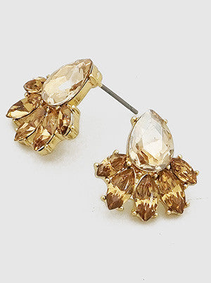 Glass Stone Marquee Shape Stud Earrings