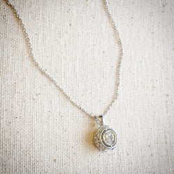 Sterling Silver Necklace with Round Pendant