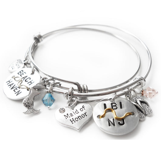 Maid of Honor Beach Badge Bangle