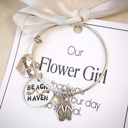 Flower Girl Beach Badge Bangle