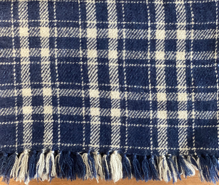 Cashmere scarf classic blue & white plaid take ivy