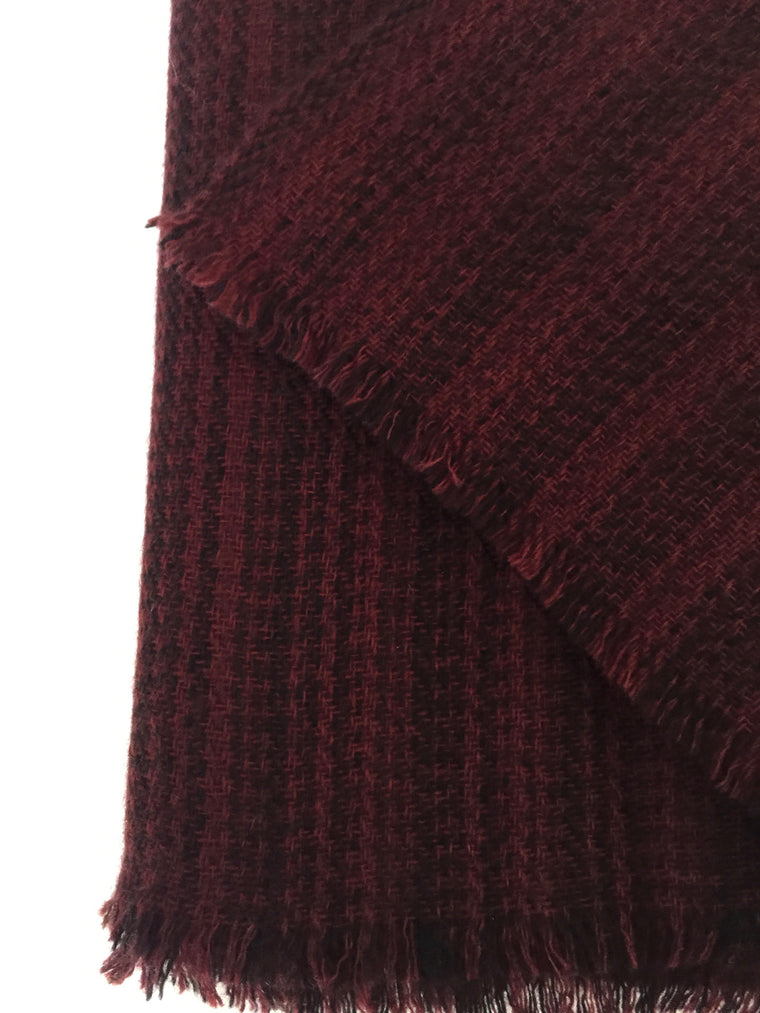 Double Ply Cashmere scarf burgundy with black stripes