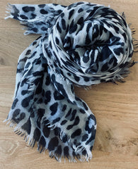Cashmere ultrafine double ply Snow Leopard Scarf