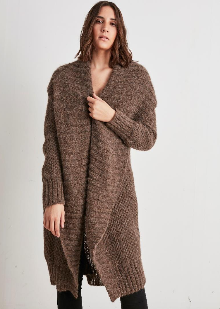 Alpaca Long Cardigan Sweater with shawl collar